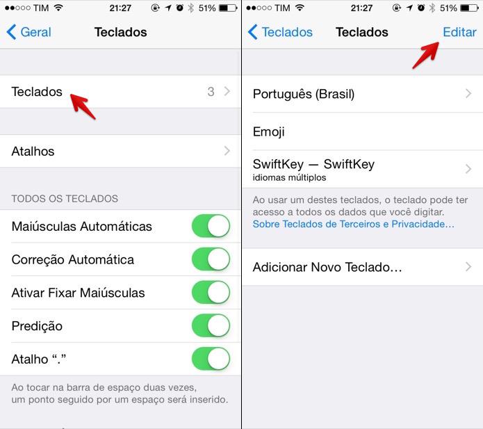 Editando teclados do iOS 8 (Foto: Reprodução/Helito Bijora)