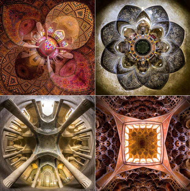 Montagem mostra detalhes do chão e do teto das mesquitas fotografadas por Mohammad (Foto: Mohammad Reza Domiri Ganji/Arquivo pessoal)