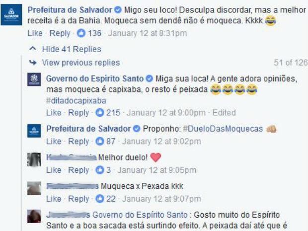 Brincadeira na internet resultou em 'duelo de moqueca' (Foto: Reprodução/ Facebook)