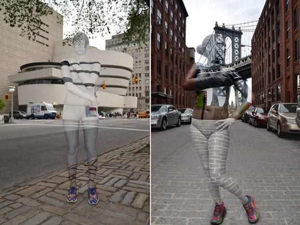 À esquerda, modelo posa em frente do museu Guggenheim. À direita, modelo Jessica Mellow é clicada diante da ponte de Manhattan (Foto: Trina Merry/AP)