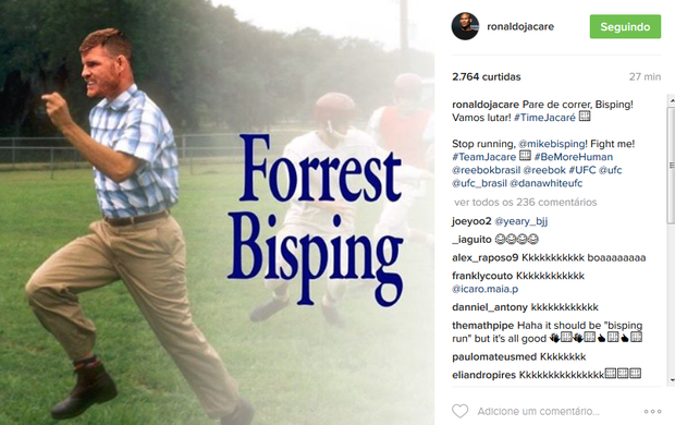 """BLOG: Ronaldo Jacaré provoca """"Forrest"""" Bisping e pede: """"Pare de correr"""""""
