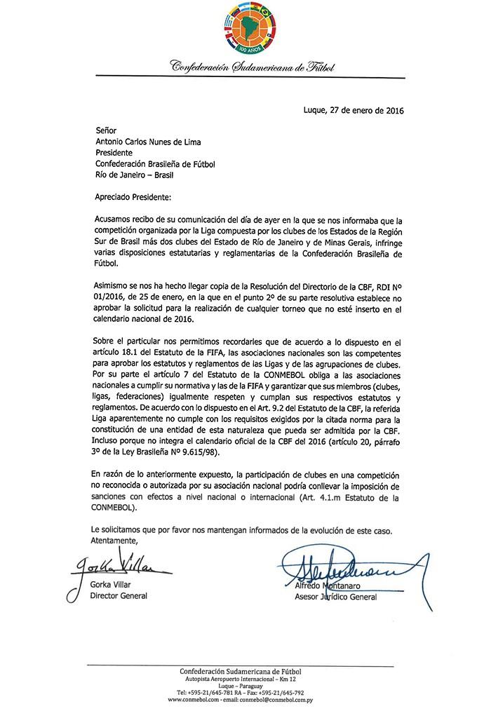 carta da conmebol para a CBF sobre a Liga (Foto: Editoria de arte)