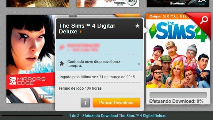 Espere o download do jogo iniciar e clique em pausar (Foto: Reprodução/Tais Carvalho)