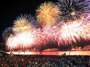 Queima de fogos ilumina a praia de Copacabana com a chegada de 2015. (Foto: Alexandre Durão/G1)
