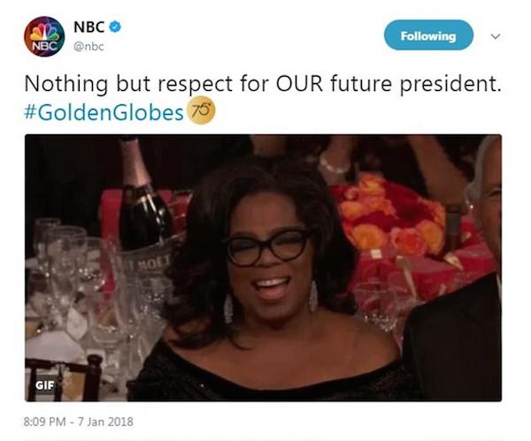 A mensagem do canal de TV NBC que deu início à campanha pedindo Oprah Winfrey como presidente dos EUA (Foto: Twitter)