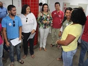 Grupo Matizes organizou rolezinho solidário no Hemopi de Teresina (Foto: Gil Oliveira/ G1)