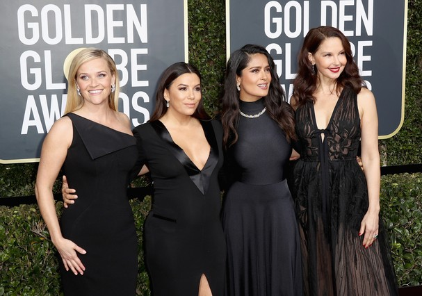 BEVERLY HILLS, CA - JANUARY 07:  Reese Witherspoon, Eva Longoria, Salma Hayek and Ashley Judd attend The 75th Annual Golden Globe Awards at The Beverly Hilton Hotel on January 7, 2018 in Beverly Hills, California.  (Photo by Frederick M. Brown/Getty Image (Foto: Getty Images)