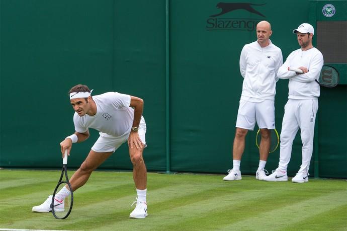 7022fa1dfa5 Federer em treino para o torneio de Wimbledon 2017 (Foto  AELTC Joe Toth