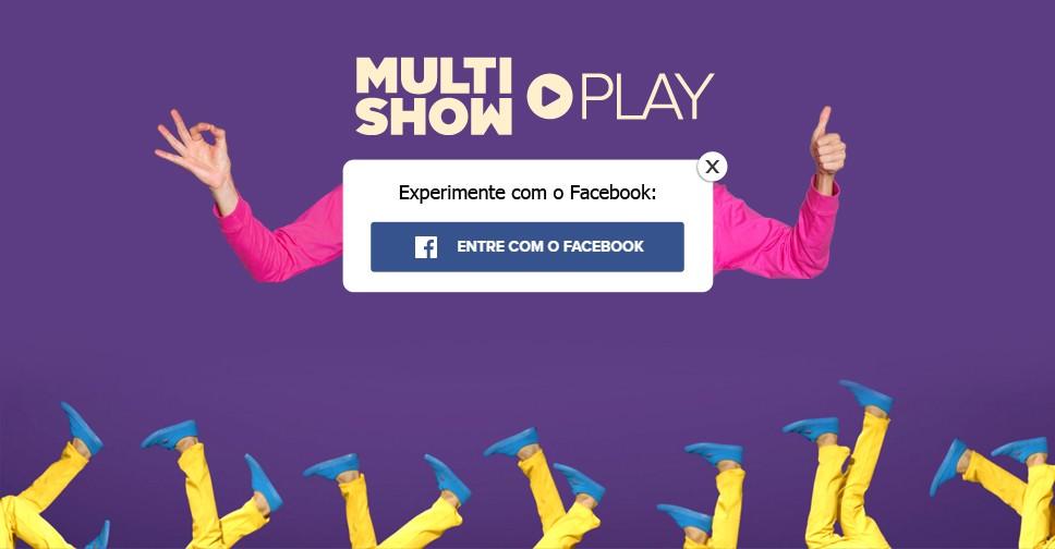 Clique na imagem para fazer login com o Facebook e aproveitar o trial do MultishowPlay! (Foto: .)