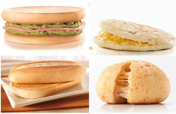Exemplos de pratos locais nos cardápios da rede pelo mundo: sanduíche com pasta de abacate, com queijo da Guiana, na Venezuela, pão na chapa e pão de queijo, no Brasil (Foto: Divulgação)