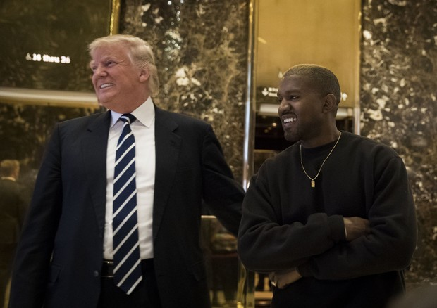Donald Trump e Kanye West na Trump Tower, em NY (Foto: Getty Images)