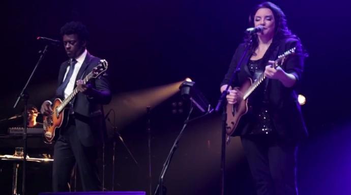 No palco, Ana e Jorge têm a companhia de Mikael Mutti e Rodrigo Tavares (Foto: Reprodução)