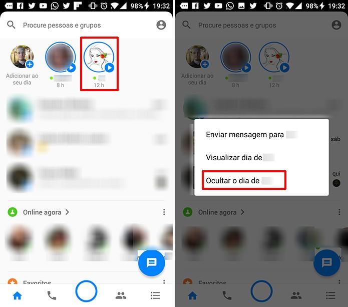 Facebook Messenger permite que o usuário oculte histórias do My Day de amigos (Foto: Reprodução/Elson de Souza)