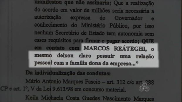 Reategui teria ligações com a Sanecir (Foto: Reprodução/TV Amapá)