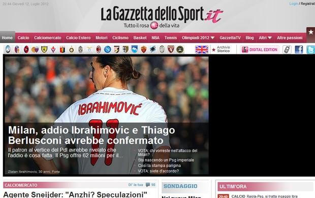 Ibrahimovic Thiago Silva venda chamada Gazzetta dello Sport (Foto: Reprodução / Gazzetta dello Sport.it)