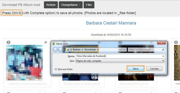 Selecione a pasta para salvar as fotos marcadas no computador (Foto: Reprodução/Barbara Mannara)