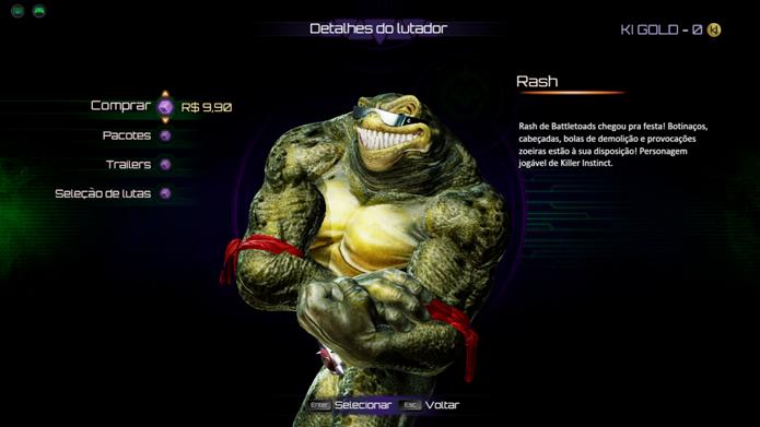 Compre um lutador para poder usá-lo quando quiser em Killer Instinct (Foto: Reprodução/André Mello)