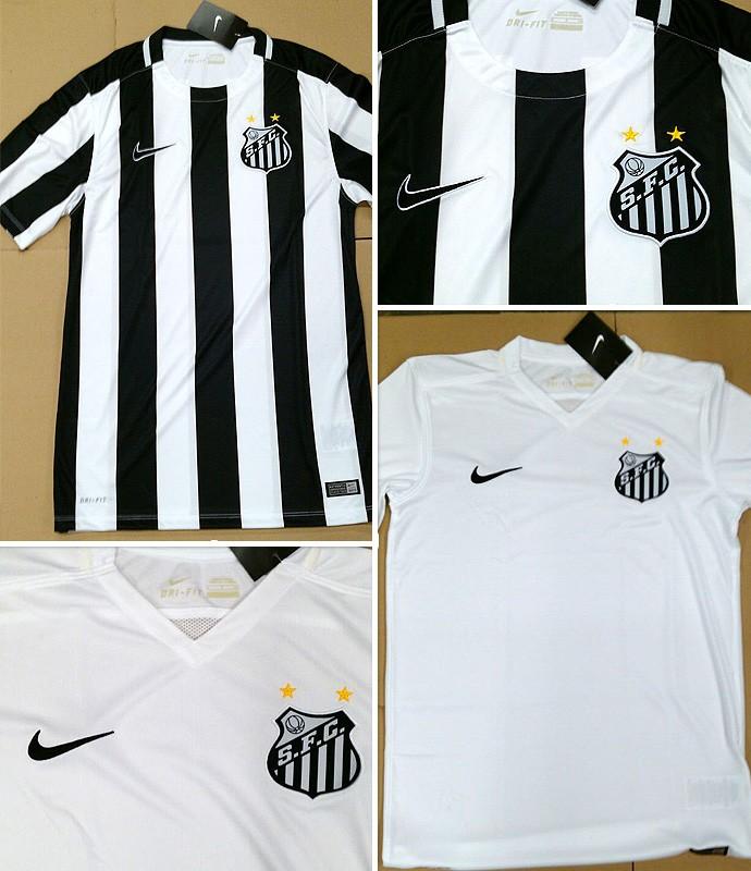 736e6dfafb71c Montagem camisa nova santos (Foto  Globoesporte.com)