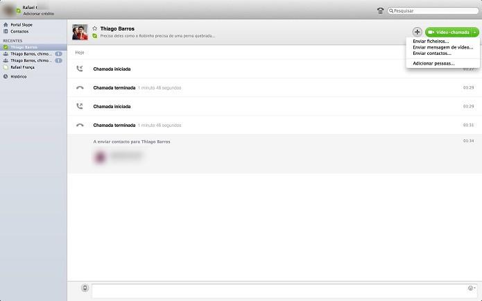 Alguns Skypes permitem envio de contatos e tela (Foto: Reprodução/Thiago Barros)