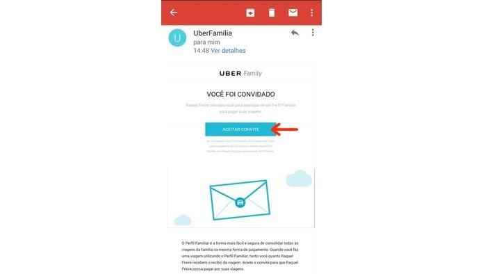 E-mail de convite para perfil familiar do Uber (Foto: Reprodução/Raquel Freire)