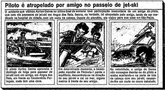 Acidente de Ayrton Senna com moto aauática jet ski em destaque no jornal O Globo (Foto: Reprodução)