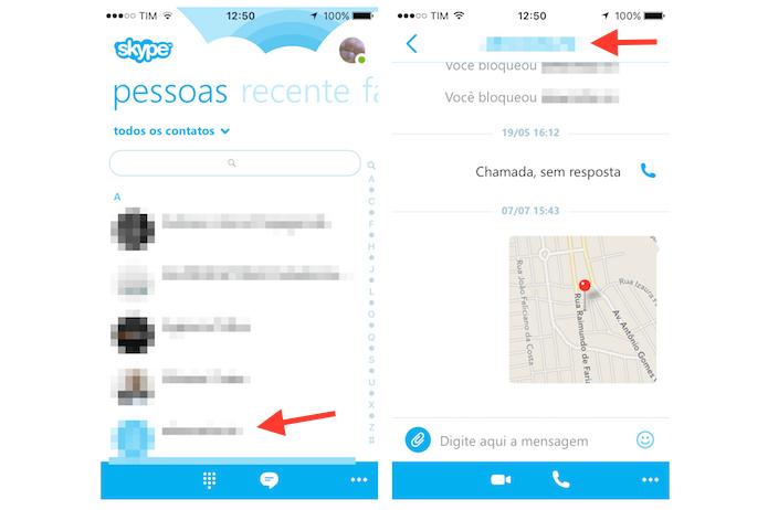Acessando as opções para um contato no Skype para iPhone (Foto: Reprodução/Marvin Costa)