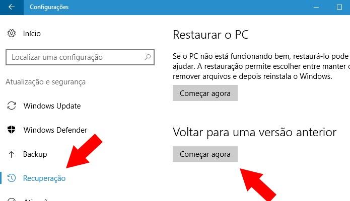 Volte para a versão anterior do Windows 10 (Foto: Reprodução/Paulo Alves)