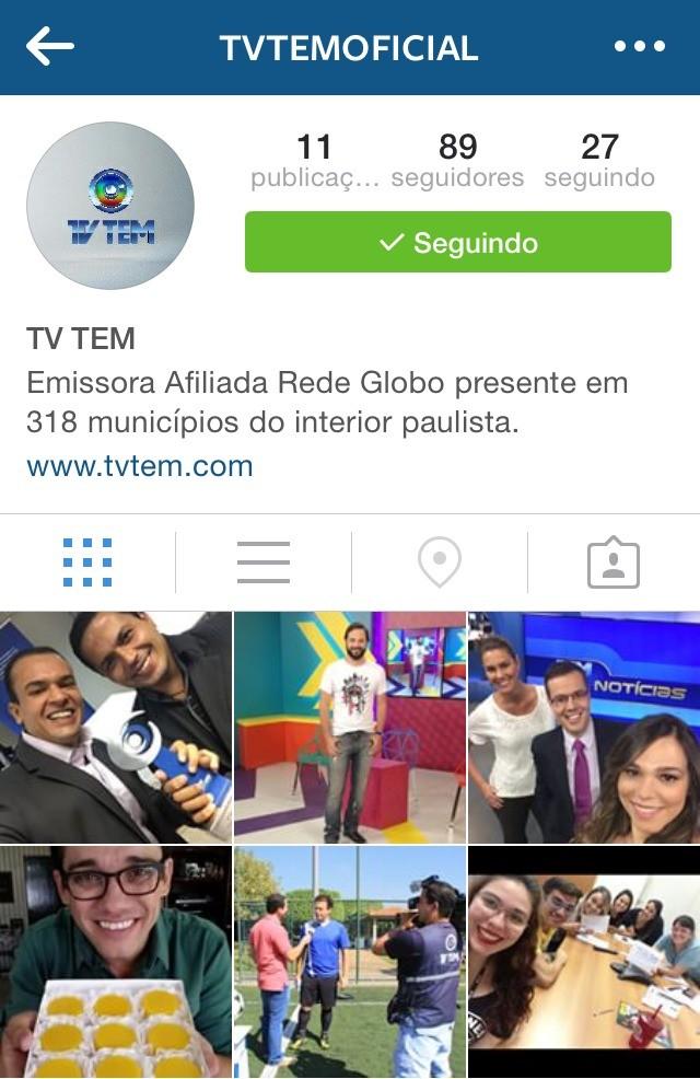 Perfil da TV TEM no Instagram mostra imagens e vídeos exclusivos pra você (Foto: Reprodução/TV TEM)