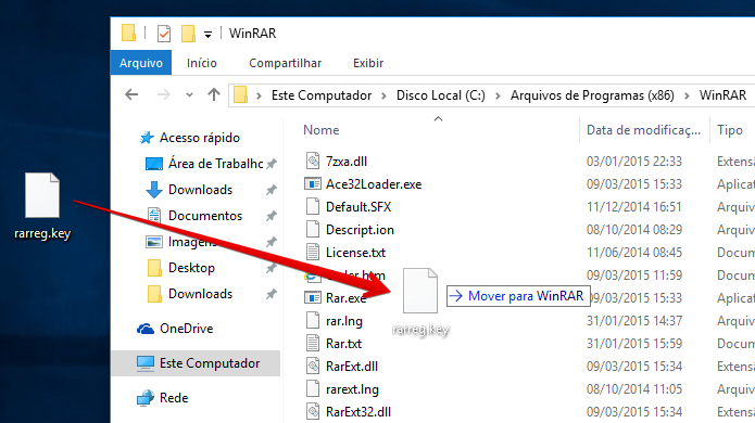 Mova o arquivo de registro para a pasta do WinRAR (Foto: Reprodução/Helito Bijora)