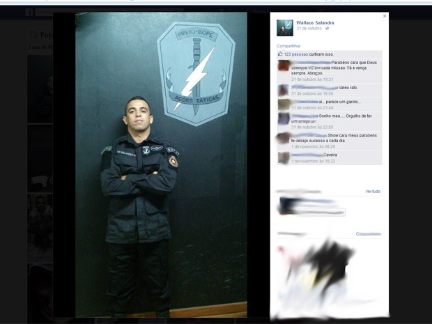Policial Wallace Salandra foi baleado no Morro da Serrinha (Foto: Reprodução/Facebook)