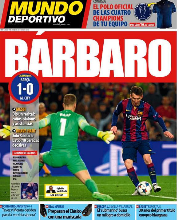 Capa jornal Mundo Deportivo - Barcelona x Manchester CIty