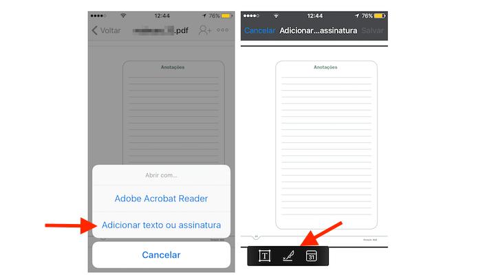 Opção para assinatura de documentos PDF do Drobpox para iPhone (Foto: Reprodução/Marvin Costa)