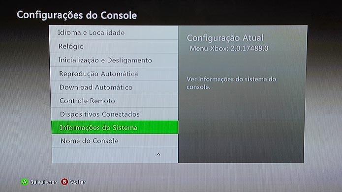 Anote o número de série do Xbox 360 localizado em Informações do Sistema (Foto: Reprodução/Tais Carvalho)
