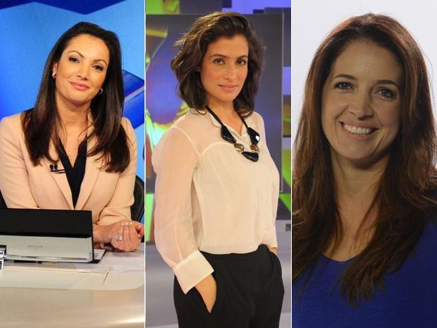 A partir da esquerda: Patricia Poeta, Renata Vasconcellos e Poliana Abritta (Foto: Globo/João Cotta e Globo/Zé Paulo Cardeal)