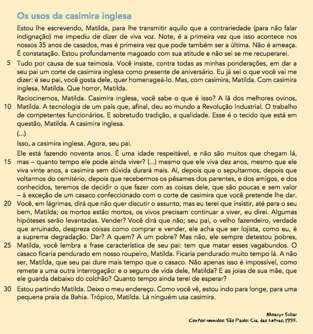 Os usos da casimira inglesa, Moacyr Scliar (Foto:  Contos reunidos. São Paulo: Cia. das Letras, 1995.)