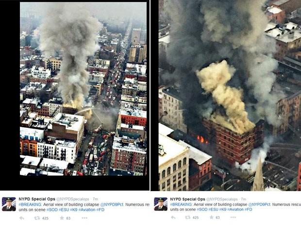 Departamente dos Bombeiros de Nova York postaram fotos do incêndio (Foto: Reprodução/Twitter/FDNY)
