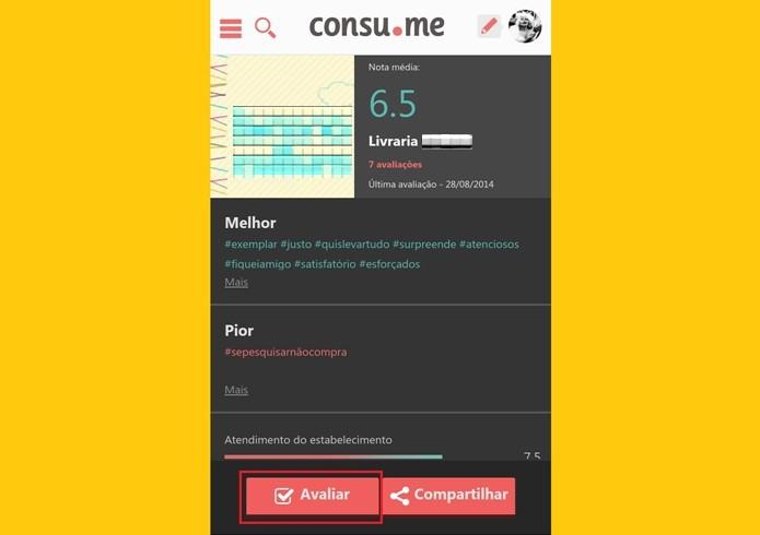 Perfil do estabelecimento mostra nota média e principais avaliações de usuários (Foto: Reprodução/Raquel Freire)