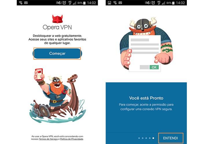 Inicie o uso do app Opera VPN no celular (Foto: Reprodução/Barbara Mannara)
