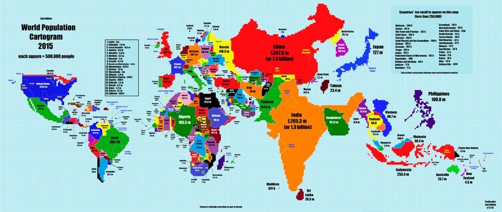 Como Ficaria O Mapa Mundi Se Ele Fosse Baseado Na Populacao Dos