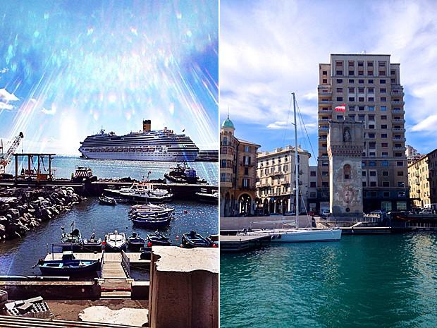 O porto de Funchal, à esq., e o de Savona, à dir. (Foto: Rafael Queiroga/Arquivo pessoal)