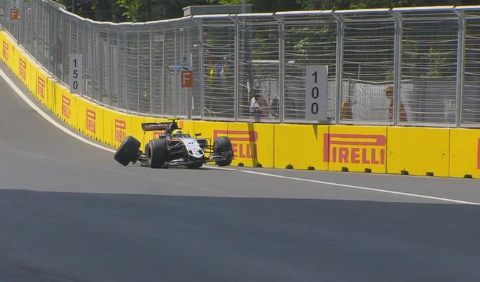 Sergio Pérez bateu no fim do 3º treino livre para o GP da Europa (Foto: Divulgação)