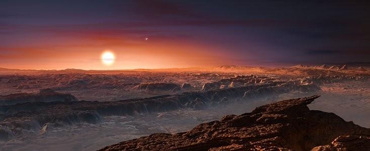 Representação artística da vista de Proxima Centauri em Proxima B (Foto: ESO)