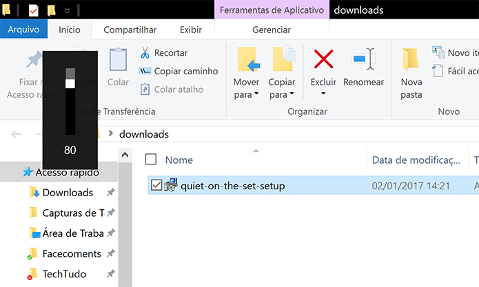 Volume do Windows não consegue ultrapassar o limite do Quiet on the Set (Foto: Reprodução/Elson de Souza)