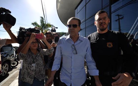 O ex-ministro Henrique Eduardo Alves foi preso nesta terça-feira (6), em Natal, Rio Grande do Norte (Foto:  Magnus Nascimento/Tribuna do Norte / Agência O Globo)