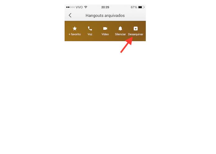 Desarquivando uma conversa no Hangouts para iOS (Foto: Reprodução/Marvin Costa)