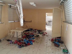 Grupo depredou área interna do Atlético em Piracicaba (Foto: Araripe Castilho/G1)