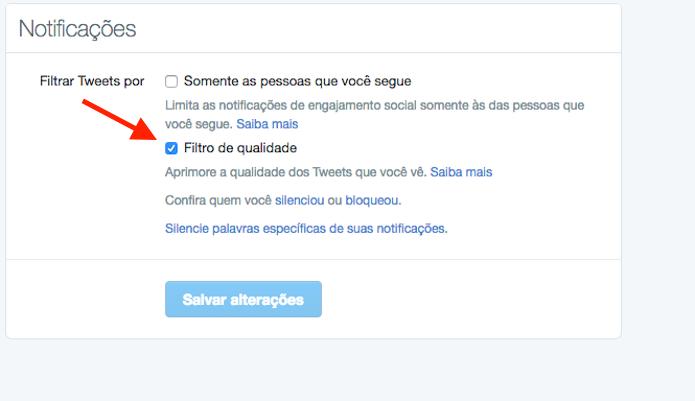 Ação para desativar o filtro de qualidade em um perfil do Twitter (Foto: Reprodução/Marvin Costa)
