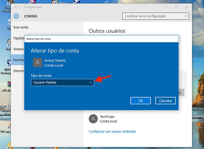 Visualizando as opções para tipo de conta do Windows 10 (Foto: Reprodução/Marvin Costa)