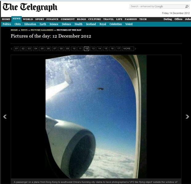 Passageiro disse ter fotografado da janela do avião um óvni durante um voo entre Hong Kong e Kunming (Foto: Reprodução/Daily Telegraph)