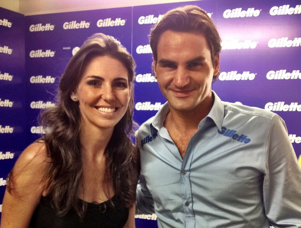 Glenda e Roger Federer (Foto: Carla Destro/TV Globo)